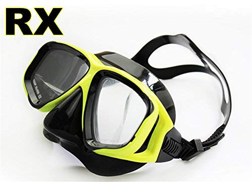 YEESAM ART Diving Snorkeling Prescription Mask Nearsighted Myopia - Scuba Dive Snorkel Mask Nearsighted Prescription RX Optical Corrective Lenses Customized (YellowBlack, -1.5 Same Both Eyes) by YEESAM ART