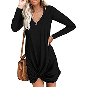 Berryou Women Short Sleeve Loose Summer Dress V Neck Front Knot Twist Tie Ultra-Soft Casual Dresses Trendy 2021 Black…