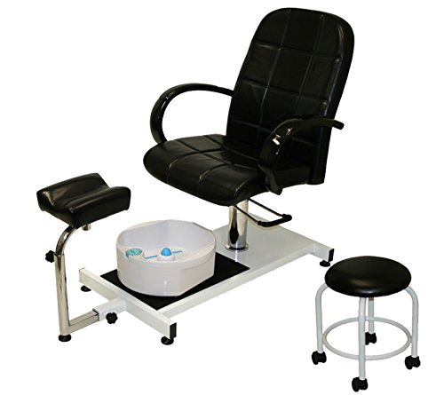 LCL Beauty Hydraulic Lift Adjustable Pedicure Unit with Easy-Clean Bubble Massage Footbath