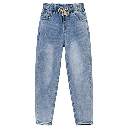 bluee Elastic Waist Harlan Jeans Women Loose Nine Points Pants 2019 Spring and Summer Korean Version was Thin Casual Straight Pants Pants Long 9092cm (color   bluee, Size   30)