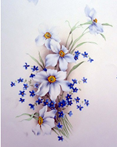 """White and Blue Flowers 1168 B Waterslide Ceramic Decals By The Sheet (6 1/2"""" X 5"""" 4 pcs)"""