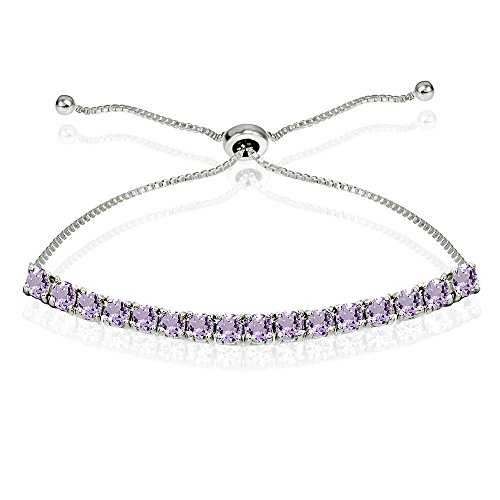 (Sterling Silver 3mm Amethyst Round-cut Chain Adjustable Pull-String Bolo Slider Tennis Bracelet for Women Teens Girls)
