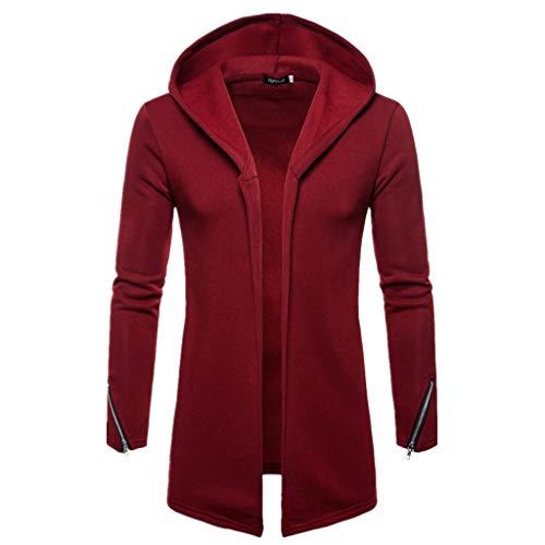 Forthery Men's Trench Coat with Hood Winter Long Zipper Jacket Overcoat Cardigan