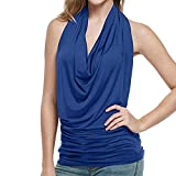 Women Causal Soild Vest Blouse Low Chest Pleated Tank Top Sleeveless Halter Camisole Blouse Blue