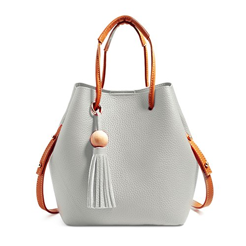 Turelifes Tassel buckets Totes Handbag Women's casual Shoulder Bags Soft Leather Crossbody Bag 3 Back Method Purse (Grey)