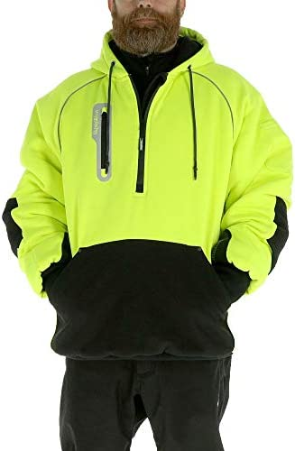 RefrigiWear Mens PolarForce Pullover Sweatshirt Insulated Hoodie with Performance Flex and Grip Assist