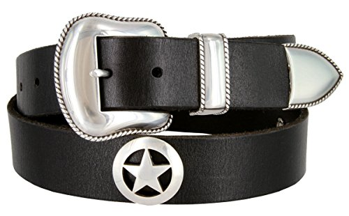 Mens Marshall Star Concho Western One Piece Genuine Leather Jean (3 Piece Leather Concho Belt)