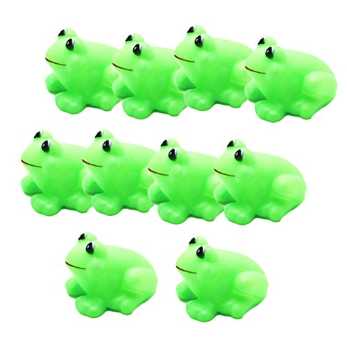 MoGist 10PCs Fun Toys Mini Green Frogs Squeaky Rubber Cute Bath Toy Beach Toy Baby Shower Birthday Party Gift Children Boys Girls Bathtub Fun Time ()