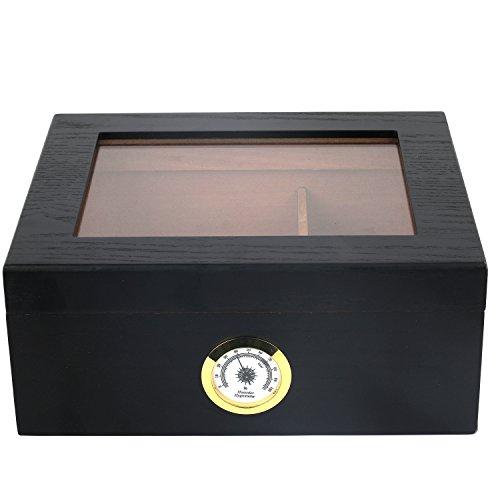 Mantello Black Oak Humidor 25-50 Cigar Desktop Humidor Glasstop by Mantello Cigars
