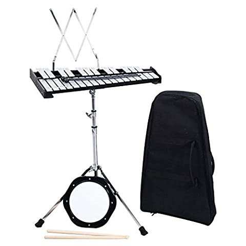 Wakrays Percussion 30 Notes Educational Glockenspiel Bell Kit with Practice Pad, Mallets, Sticks and - Keyboard Mallet Bag
