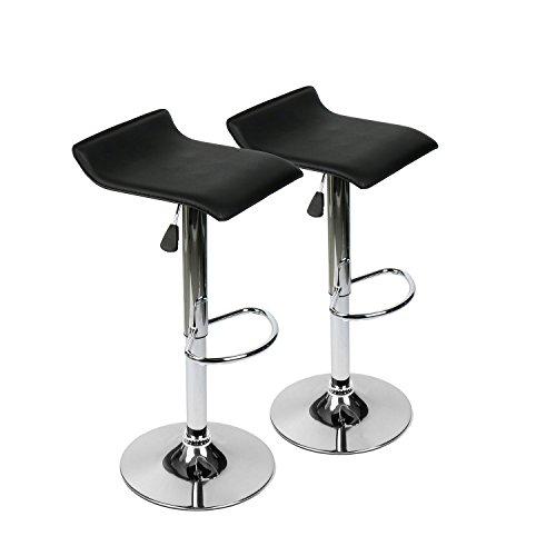 30' Chrome Bar Stool - Elecwish Pub Bar Stools Faux Leather Set of 2 Swivel Adjustable Air Left Dinning Kitchen Chair with Chrome Finish Base for Counter Office Home (Black 2pcs)