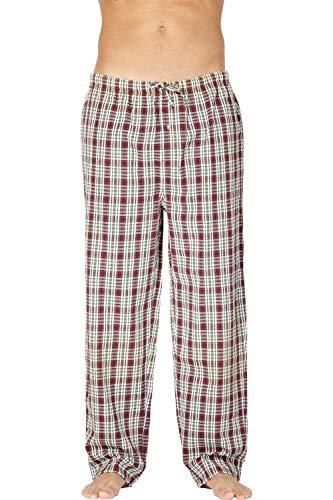 Men's Cotton Seersucker Plaid Sleep Pajama Pant, Red, Large - Seersucker Plaid Pant