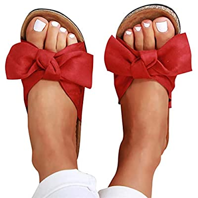 Gibobby Platform Sandals for Women Summer, Womens Bows Flip Flops Flat Sandals Anti-Slip Casual Beach Thong Slipper: Clothing