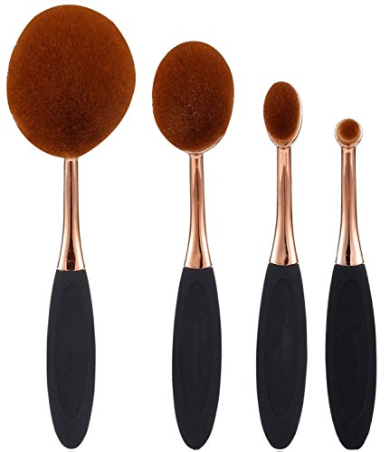 JPNK Oval Tooth Brush Shape Oval Makeup Brushes (4 Pieces, Rose - Oval The Shape