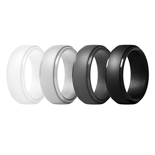 ThunderFit Silicone Rings for Men - 4 Pack Rubber Wedding Bands (White, Light Grey, Black, Dark Grey, 8.5-9 (White Rubber Button)