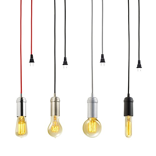 amazoncom globe electric vintage edison 1light plugin mini pendant matte black finish black designer woven fabric cord inline onoff switch