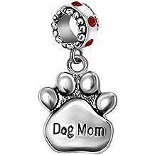 T50Jewelry Dog Mom Charms Mom Pet Paw Print Beads Valentine's Day For Bracelets