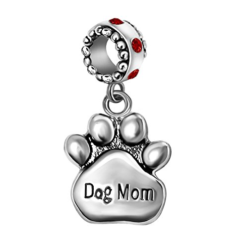 T50Jewelry Dog Mom Charms Mom Pet Paw Print Beads Valentine's Day For Bracelets