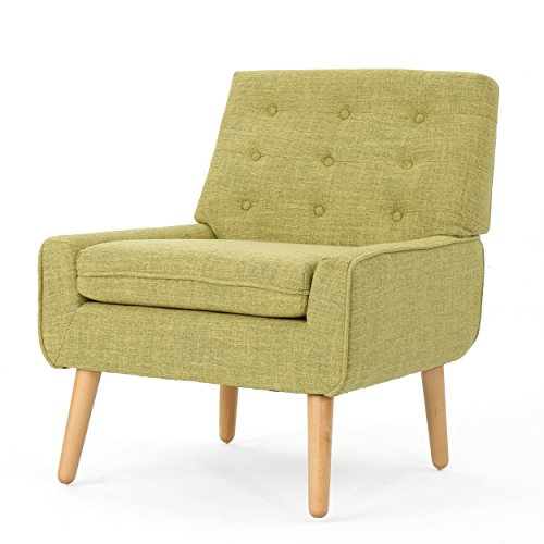 Christopher Knight Home 301885 Eilidh Buttoned Mid Century Modern Muted Green Fabric Chair,