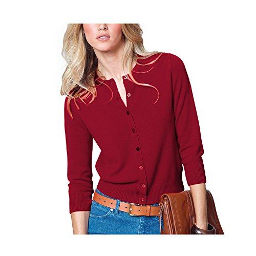 Parisbonbon Women's 100% Cashmere Crew Neck Cardigan Color Red Size ()