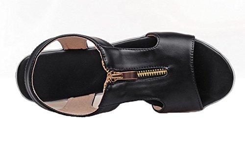 CCAFLP015453 Noir Correct Sandales Ouverture Cuir VogueZone009 à d'orteil Talon Femme Zip PU vngFU7