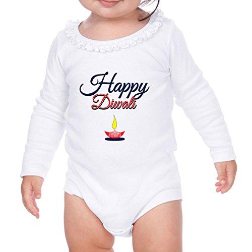 Happy Diwali Sunflower Ruffle Long Sleeve Bodysuit White 6 Months by Cute Rascals
