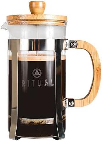 French Press 36 Ounce Coffeemaker by Ritual with Thick Professional Grade All Glass Body and Handle, Zinc Lid, and Silicone Heat Resistant Base