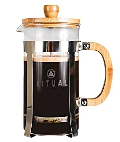 French Press by Ritual, New and Improved Stainless Steel and Bamboo Design 9 cup Coffee Press Maker (36 Oz) Tea Maker with Thick Professional Grade Screen and Filter