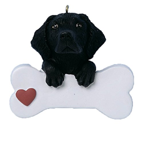 (Personalized Black Labrador Retriever Christmas Tree Ornament 2019 - Cute Lab Paw Big Bone Heart Friendly Dog Family Smart Play Faithful Furever Fluffy - Free Customization)