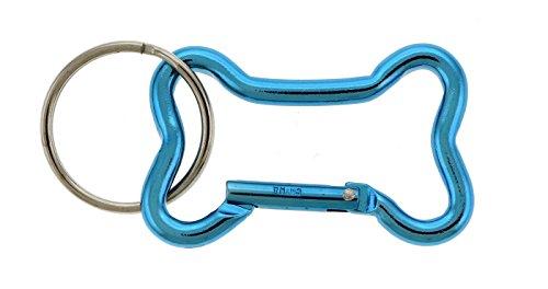 Blue Polished Aluminum Dog Bone Shaped Carabiner Key Chain (Dog Bone Shaped Keychain)
