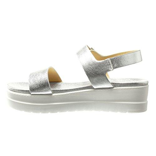Angkorly - damen Schuhe Sandalen Mule - Plateauschuhe - String Tanga - glänzende Keilabsatz high heel 5 CM - Silber