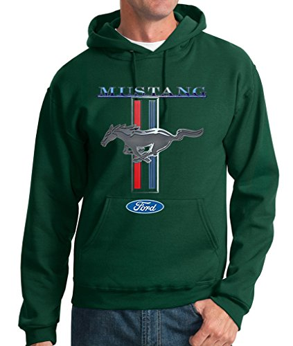 Ford Mustang Logo Cobra GT 500 Cars Hot Rides Snake Pullover Hoodie S-3XL - Forrest Green - L