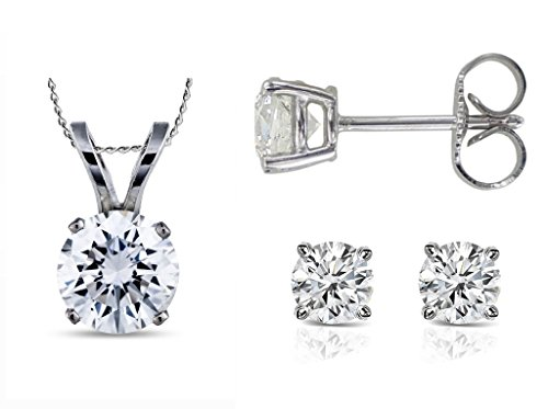 parikhs-round-diamond-pendant-stud-set-popular-quality-in-white-gold-007-ctw-i2-clarity