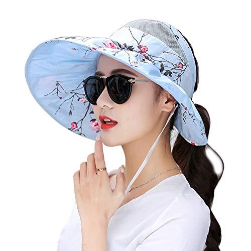 Women Visor Sun Hats Floral Open Top 5.5