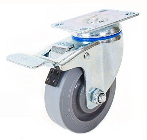 NK CTPR4SSBR Swivel Plate Caster with Non Marking Soft Gr...