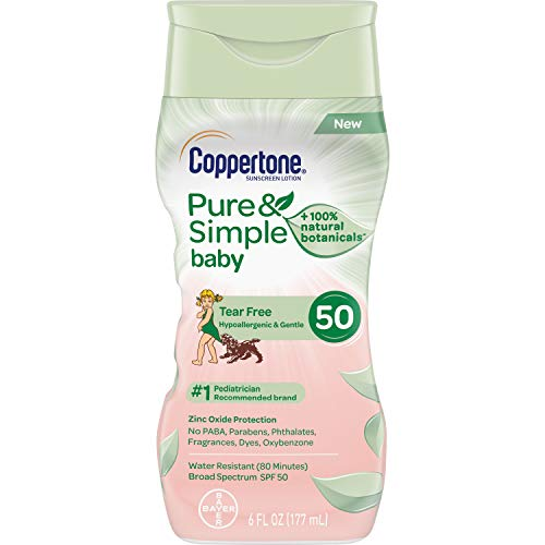 Coppertone WaterBABIES Sunscreen Pure & Simple Tear Free Mineral Based Lotion Broad Spectrum SPF 50, 6 Fluid Ounces