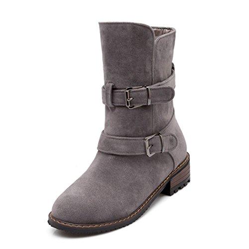 dimensione cintura cilindro stivali donne ZQ tacco gray QXregalo fibbia grande di Natale del americane doppia di Euro basso 1w8Favwq6