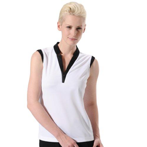 (Monterey Club Ladies Dry Swing Lace Contrast Notched Collar Shirt #2191 (White/Black,Medium))