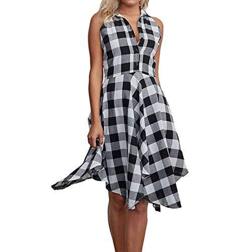 Plaid Shirtdress Leisure Vintage Dresses Casual Shirt Dress Knee-Length Vestidos,Black abd White,XL