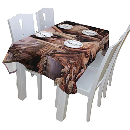 Abbylife Native American Indian Horse Print Dinner Tablecloth Polyester Indoor Outdoor Oblong Kitchen Table Cloth 54