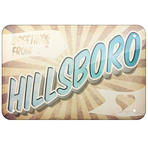 (Metal Sign Greetings from Hillsboro, Vintage Postcard TIN Sign 7.8 11.8 inch(L W))