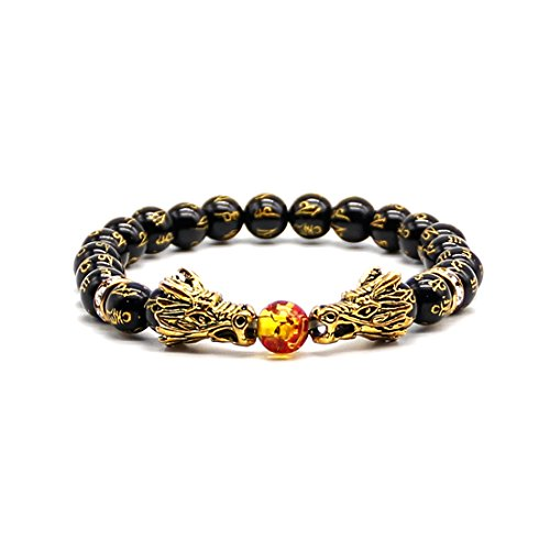 ads Grind Arenaceous Healing Energy Bracelet for Women with Gold Dragon Head (Cool Dragon)