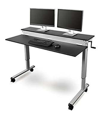 Crank Adjustable Sit to Stand Up Desk with Heavy Duty Steel Frame