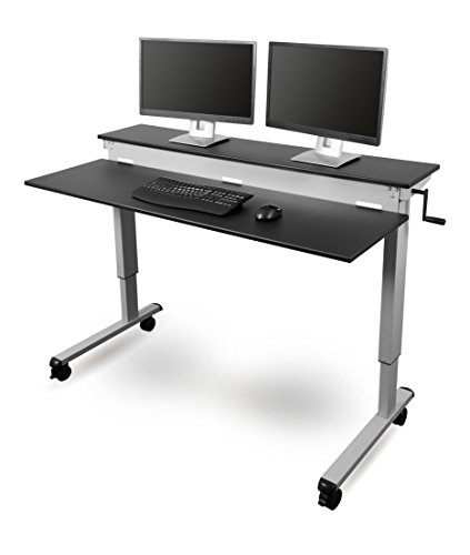 "Stand Up Desk Store 60"" Crank Steel Adjustable Sit to Stand Up Desk, Black Shelves / Silver Frame"