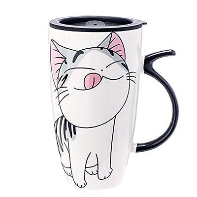 XNQ Cute Cat Style Ceramic Mugs with Lid & Spoon Cartoon Creative Moring Mug Milk Coffee Tea Unique Porcelain Cups 600ml