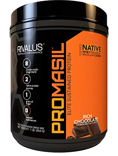 Rivalus Promasil Protein, Milk Chocolate, 1lb - 8-Source Protein Blend Including Native Whey Isolate, Native Micellar Casein, Egg, Sustained Delivery, Clean Nutrition Profile, No Banned Substances