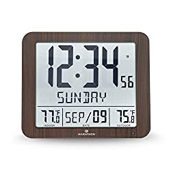 Marathon CL030027-FD-WD Slim Atomic Wall Clock with Full Calendar and Large Display and Indoor/Outdoor Temperature (New Full Display, Color: Wood Tone)