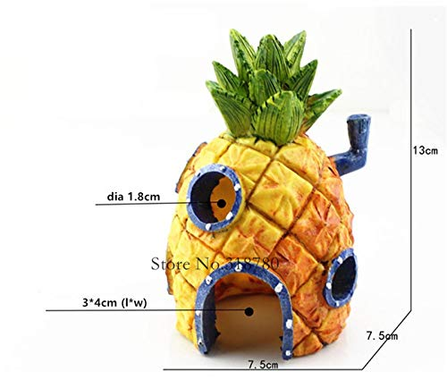 Decorations - Small Aquarium Spongebob Decoration Pineapple House Squidward Easter Island Fish Tank Cartoon Decoration for Kids - by GTIN - 1 PCs -