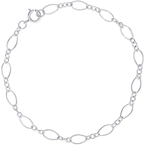 """Rembrandt Charms, 7"""" Open Figaro Link Classic Charm Bracelet.925 Sterling Silver"""