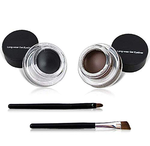 MAYU 2 in 1 Black and Brown Gel Eyeliner Set Water Proof Smudge Proof, Last for All Day Long, Work Great with Eyebrow, 2…